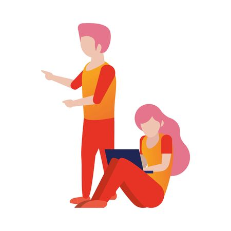 young couple using laptop avatars characters vector illustration design
