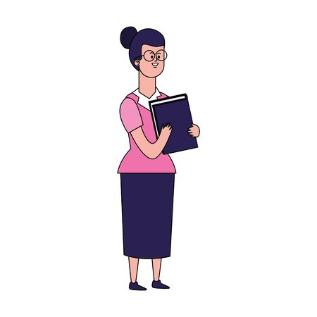 cartoon girl with book icon over white background, vector illustration