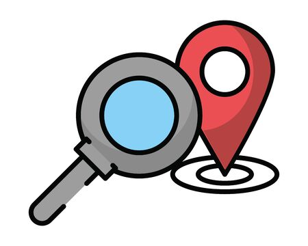 pin pointer location guide with magnifying glass vector illustration design