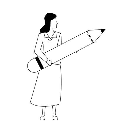 Avatar woman holding a big pencil over white background, vector illustration Çizim