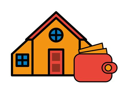 house front facade with wallet vector illustration design