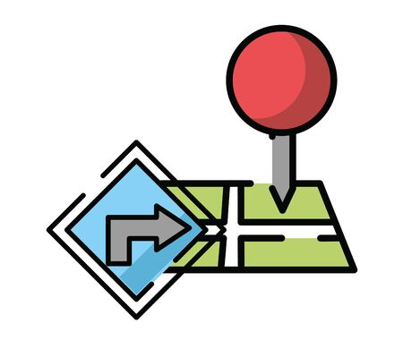 paper map guide with traffic signal icon vector illustration design