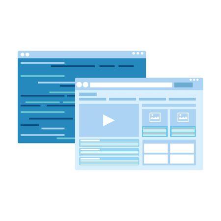 web windows interface icon over white background, vector illustration