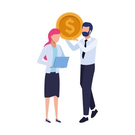 avatar business man holding a money coin and woman with laptop computer over white background, vector illustration Illustration