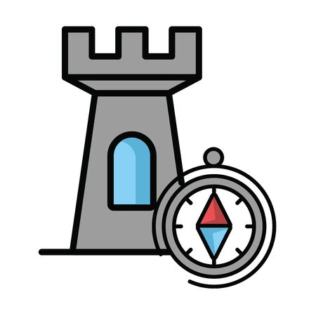 compass guide device with tower vector illustration design Stock Illustratie