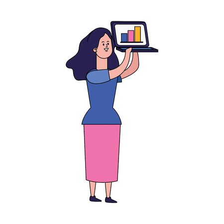 cartoon girl holding up a laptop computer over white background, colorful design, vector illustration