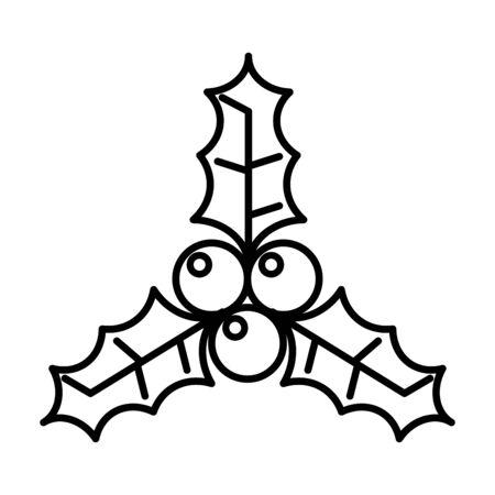 merry christmas leafs and seeds vector illustration design Ilustração