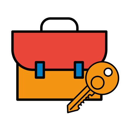key house door with portfolio icon vector illustration design