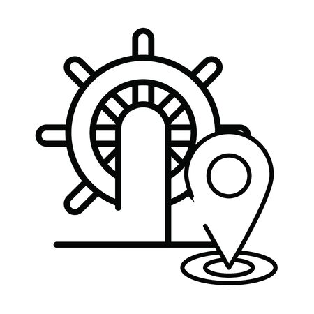 helm boat with pin location vector illustration design Çizim