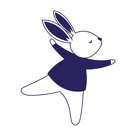 cute rabbit with sweater icon over white background, vector illustration