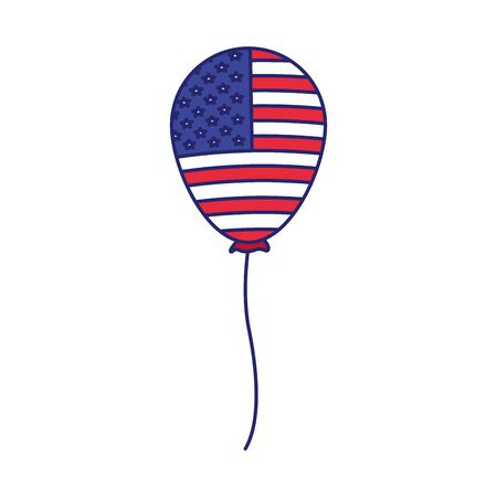 balloon with united states of america flag design over white background, vector illustration
