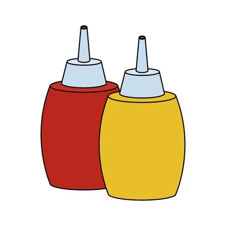 sauces bottles icon over white background, vector illustration