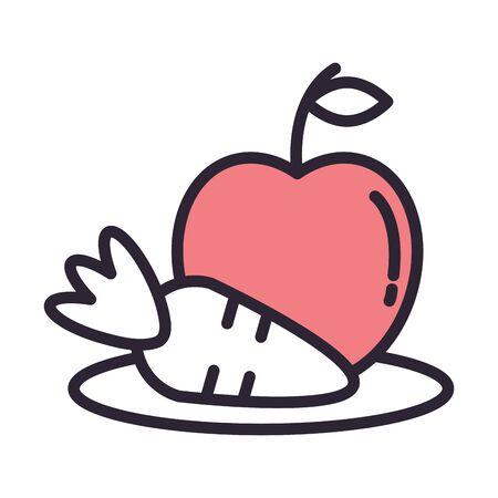apple fresh fruit and carrot vector illustration design