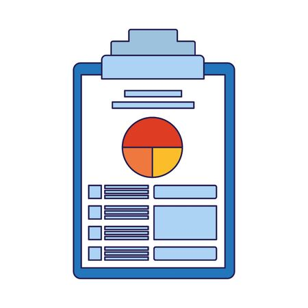 clipboard with document with graphic charts over white background, vector illustration