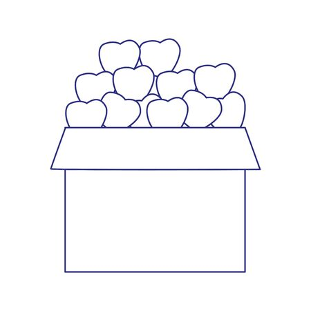 boxes with apples icon over white background, vector illustration