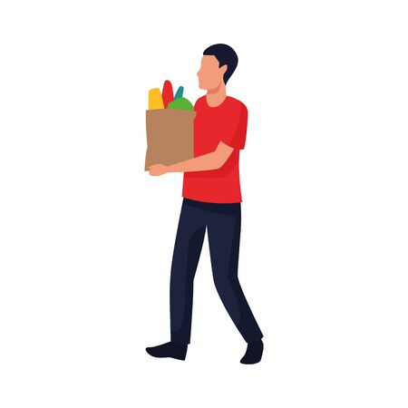 avatar man holding a supermarket bag icon over white background, colorful design. vector illustration