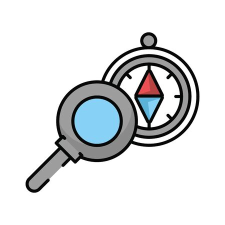 compass guide device with magnifying glass vector illustration design