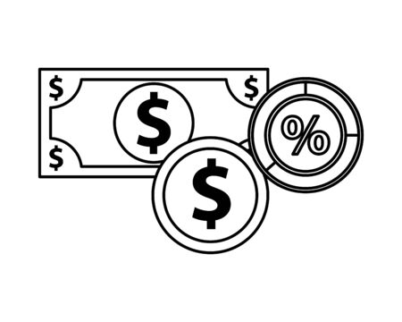 bill and coin money dollars and percent symbol vector illustration design