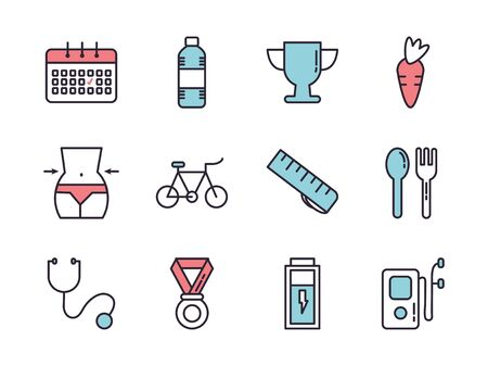 bundle of healthy lifestyle icons vector illustration design Zdjęcie Seryjne - 138419327