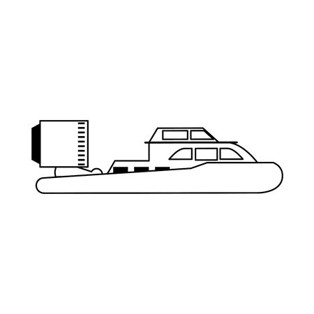 Hovercraft sport boat sideview isolated vector illustration graphic design