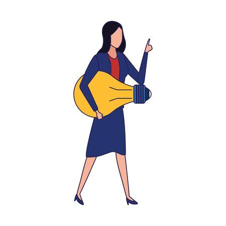 avatar business woman holding a light bulb icon over white background, vector illustration Ilustração Vetorial