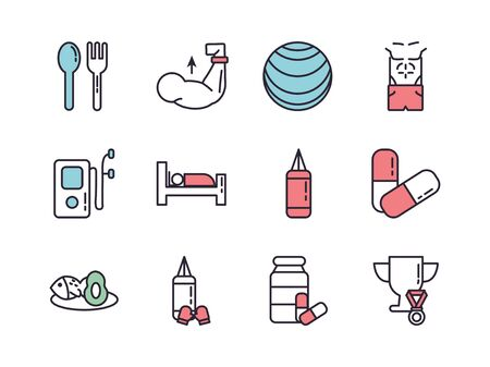 bundle of healthy lifestyle icons vector illustration design Ilustracja
