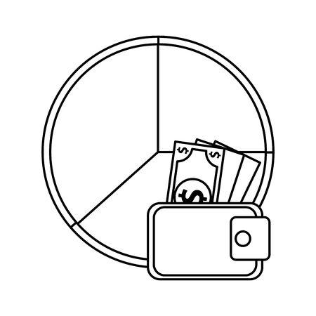 wallet with bills money dollars and statistics pie vector illustration design