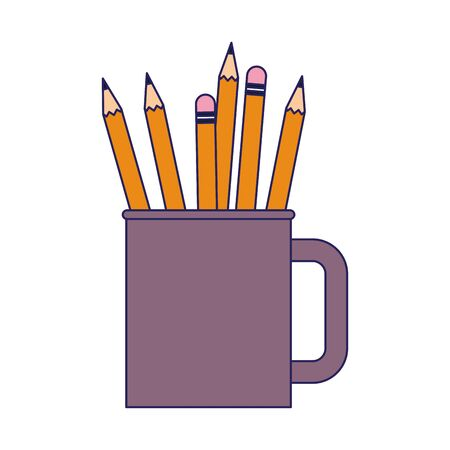mug with pencils icon over white background, colorful design. vector illustration