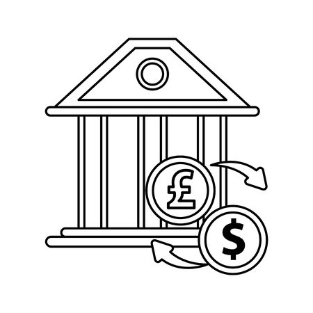 dollar and pound sterling coins icons vector illustration design