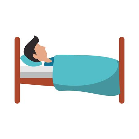 Man sleeping on bed sideview cartoon vector illustration graphic design