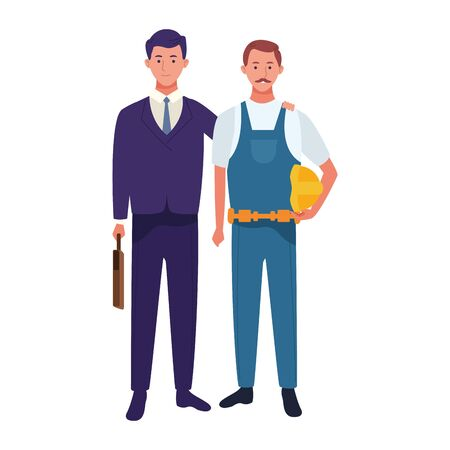 businessman and construction worker standing over white background, vector illustration