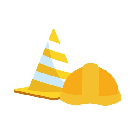 traffic cone and safety helmet icon over white background, vector illustration Foto de archivo - 138431289