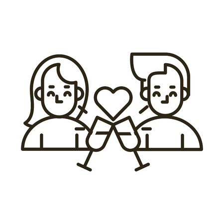 happy valentines day couple with heart and cups vector illustration design