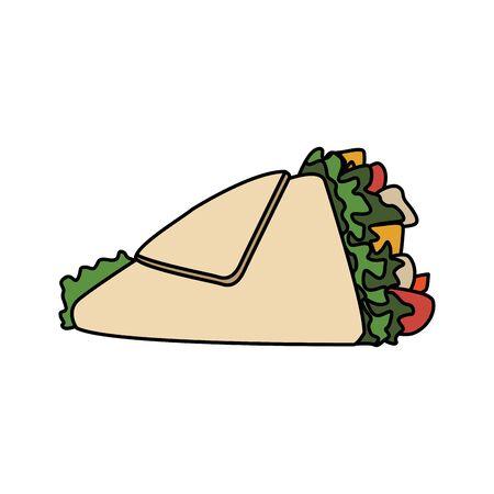 wrap icon over white background, fast food design, vector illustration Stok Fotoğraf - 138431462