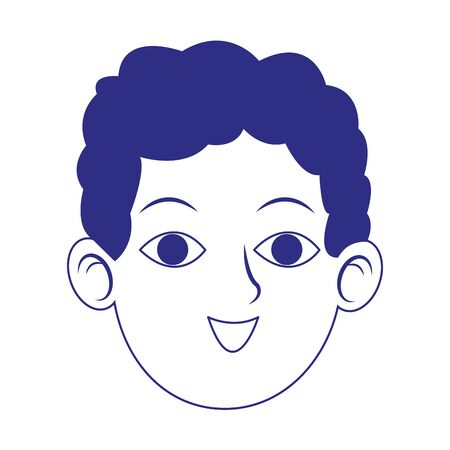 young man face icon over white background, vector illustration