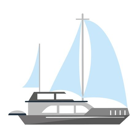 Sail boat ship sideview cartoon isolated vector illustration graphic design Stock Illustratie