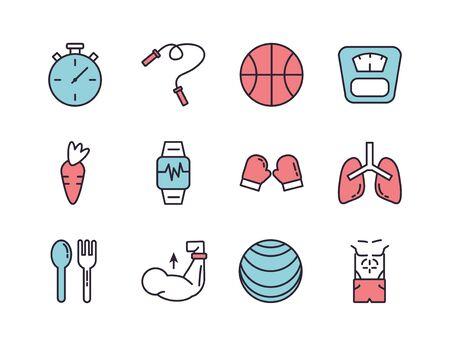 bundle of healthy lifestyle icons vector illustration design Zdjęcie Seryjne - 138432414