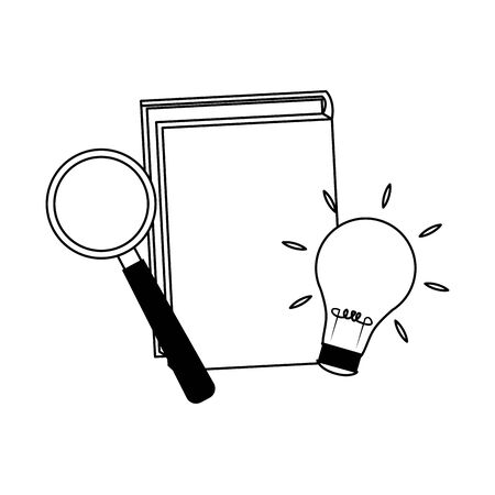 book with magnifying glass and light bulb over white background, flat design, vector illustration