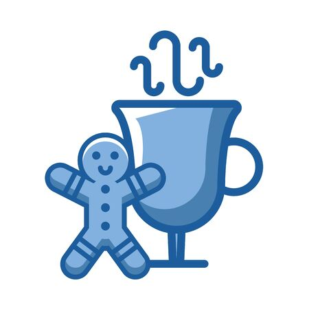 ginger cookie doll with cup vector illustration design Vectores