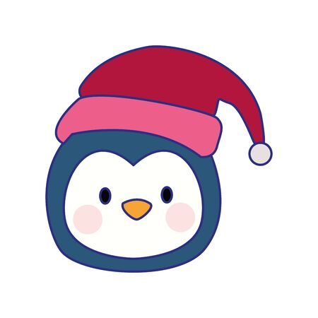 cartoon penguin with christmas hat over white background, vector illustration