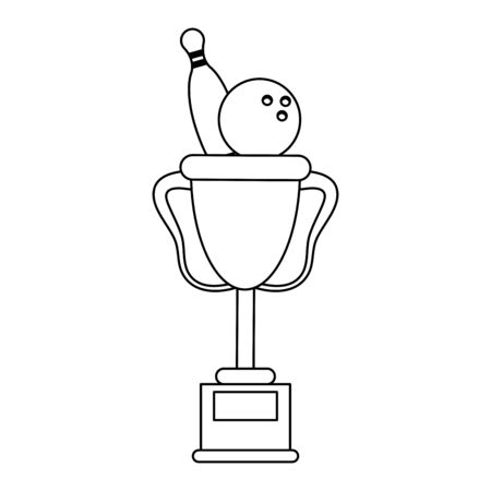 Bowling trophy cup sport cartoon Designe