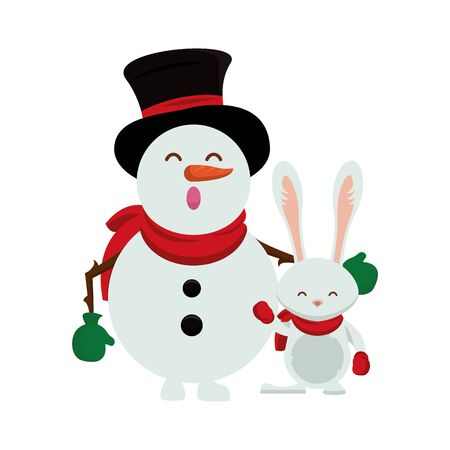 merry christmas snowman cute character vector illustration design