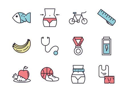 bundle of healthy lifestyle icons vector illustration design Illusztráció