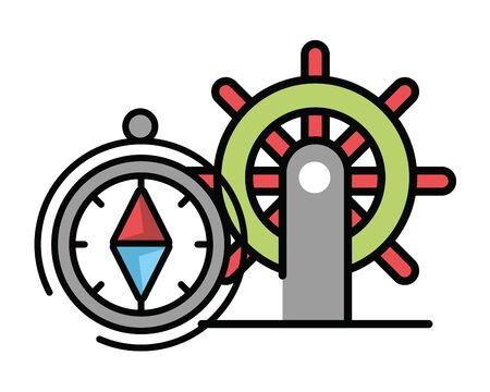 compass guide device with boat helm vector illustration design