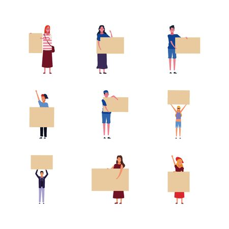 icon set of people with blank posters over white background, vector illustration