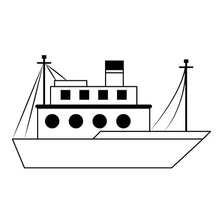 Fish ship boat sideview isolated cartoon vector illustration graphic design Archivio Fotografico - 138458659
