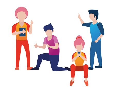 young people using smartphone avatars characters vector illustration design