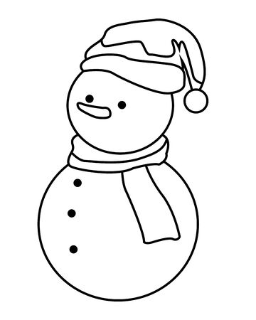 snowman icon isolated black and white vector illustration graphic design