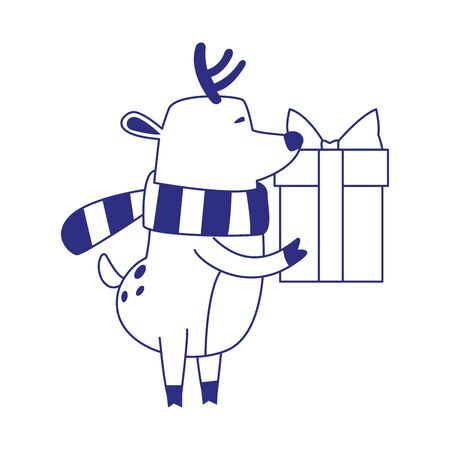 cartoon christmas deer with gift box icon over white background, vector illustration