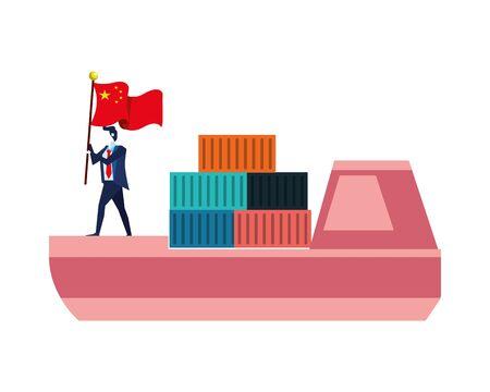 merchant ship with businessman and china flag vector illustration design Archivio Fotografico - 138439181